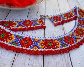 Ukrainian ethnic necklace Ukrainian beaded necklace Ukrainian necklace collar Ukrainian jewelry Ukrainian embroidery Silyanka necklace