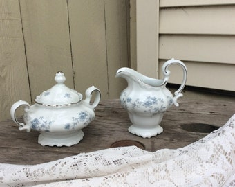 Vintage Johann Haviland Blue Garland Cream and Sugar Set