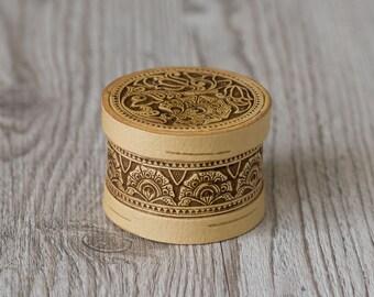 Weeding favour ring box, Round birch tree flower bark slavic style