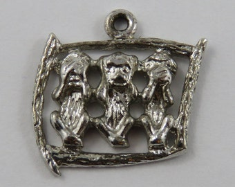 Three Wise Monkeys-See, Hear, Speak No Evil Sterling Silver Vintage Charm For Bracelet
