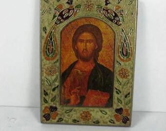 Vintage Jesus Christ Pantocrator Metal on Wood with Enamel Decoration Icon. Greek Russian Eastern Orthodox Church.