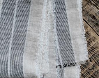 Long linen scarf, Black stripe scarf, Summer fringe scarf, Mens shawl, Handmade scarf, Unisex, Women scarf, Organic Fabric, Gift for him