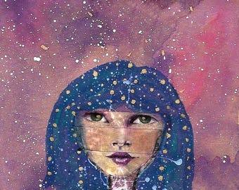 Starseed, Original art print, 4 x 6 art print, Starseed art print, mixed media art print