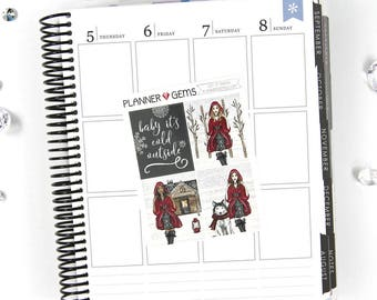 Let It Snow Add-On Full Box Stickers | 4 Stickers | Planner Stickers | For Erin Condren LifePlanner