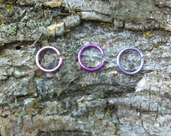 3 PC. Assorted Purple Cartilage Hoops, Cartilage Jewelry