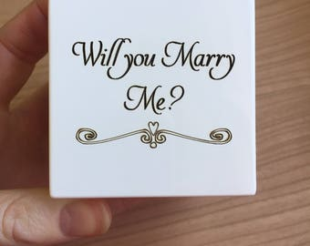 Will you marry Me, Proposal Ring box, Engagement Ring box, white wedding ring box, personalised ring box