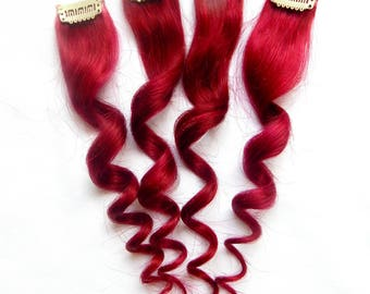 Red hair extensions etsy burgundy red human hair extensions 1 pc clip in hair extensions pmusecretfo Image collections