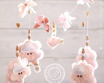 Sheep Crib Mobile Girl /FREE FedEx SHIPPING WORLDWIDE/ Baby Girl Mobile, Baby Nursery Mobile Girl,Sheep Baby Mobile Hanging,Pink Baby Mobile