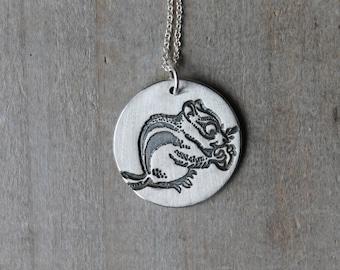 Chipmunk fine silver pendant