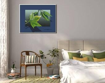 Living Room Wall Art, Living Room Art, Bedroom Wall Art, Canvas Art, Leaves Art, Blue Canvas Art, Blue Modern Wall Art, Leaf Art