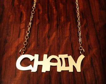 Gold Name Chain , Handwriting necklace , Name Necklace , Gold Necklace , Handwriting chain , Gift for her ,