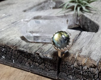 Large Labradorite Crown Ring Size 7