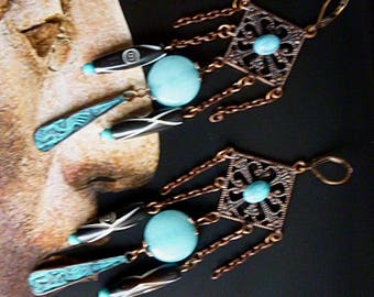 "Pierced ear ethnic ""kokopelli"", ethnic beads style weathered wood black, copper, natural stone Amazonite"
