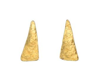Triangle stud earrings, gold big studs, hammered earrings, brass jewelry, geometric posts, minimal jewelry, contemporary studs, simple jewel