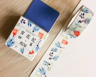 Cute washi tape - red & blue flowers - infeel me | Cute Stationery