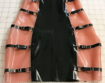 Latex strappy skirt