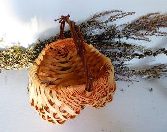 Large Woven Splint Basket with Grapevine Handle