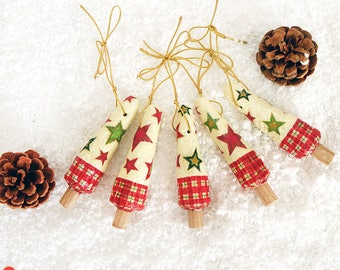 Christmas Tree Ornaments, Set Of 5, Paper Mache Tree Decor, Christmas Gift, Christmas Tree Decoration, Winter Home Decor, Xmas Decor