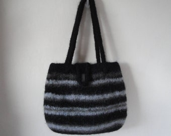 black handbag, knitted felt bag, grey and black bag, black felt purse, striped felt bag, black striped purse, felt handbag, striped purse