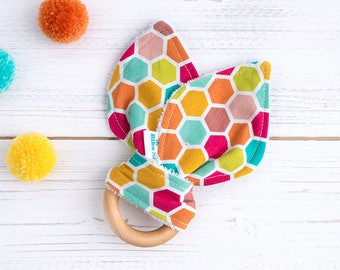 Baby Teether - Sensory Toy - Honeycomb - Multicolour - Baby Girl - Baby Boy - Teething Baby - Dribble - Vegan - Organic  Babmboo and Wood