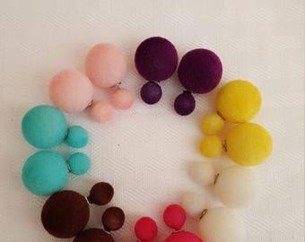 Fuzzy Double Pearl Stud Earrings - Double Pearl Stud Earrings - Fuzzy Earrings - Pearl Earrings - Fuzzy Pearl Earrings - Stud Earrings