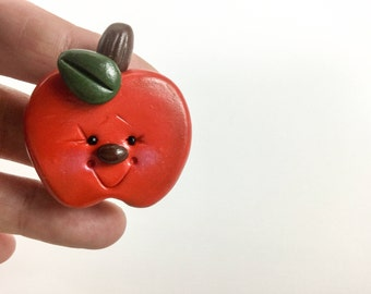 Happy apple pin - teacher gift - red apple - whimsical Apple - teacher's pet - jewelry - apple brooch - polymer clay pin