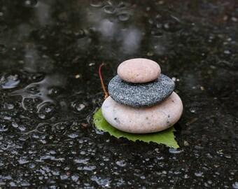 Small Rock Cairn - Stress Relief Gift - Meditation Altar - Stacking Pebbles - Zen Balance - Terrarium Stones