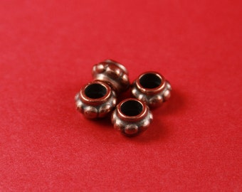 2/9 MADE in EUROPE 4 zamak copper beads, 5.5mm hole zamak sliders, 5mm cord slider, round cord tube spacer  (B1596C) qty4