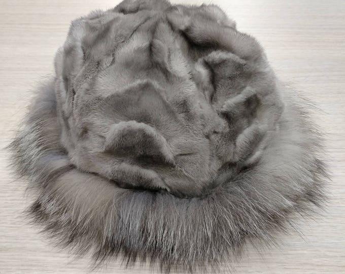 Sapphire Mink and Fox Fur Winter Hat  F606