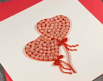 3D Handmade Love Card Blank Quilled Heart Balloons Love Card