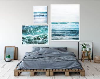 Ocean waves photography 3 print set. Natural, beach photo triptych. Scandinavian, minimal, modern, hygge, multi pack set of three decor.