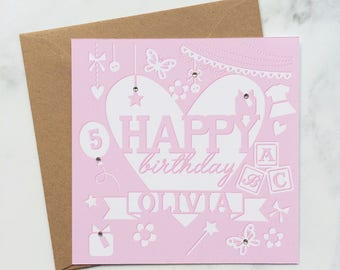 Girls Pretty Butterfly Birthday Card with Flowers, Personalised Card for a Girls Birthday, Special Card with Name and Age, Birthday Card