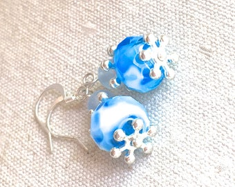 "Delicate Blue Earrings, Czech glass beaded earrings small one inch earrings dangle drop boho jewelry bohemian simple 1"" french ear wire"
