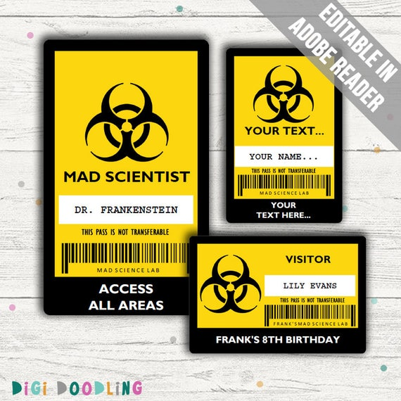 Science Party Id Badge. Mad Scientist Id Badge Template.
