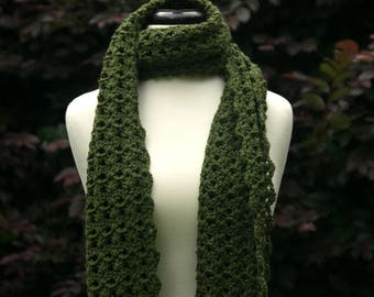 Super Size Scarf in Dark Olive - Green Blanket Scarf - Bisé Super Scarf - Extra Long Neck Warmer with Fringe - Ready to Ship Fall Gift