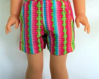 14 inch doll clothes, shorts,  seersucker, , watermelon, polka dot, stripe, fit dolls like Wellie Wishers