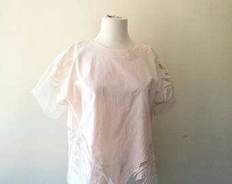 Vintage peach pink cotton x sheer  top/ blouse