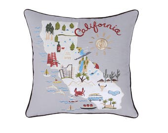 Pillow, Pillowcases,  California Embroidered, Throw PillowCover, Decorative Pillow, Birthday Gift, Wedding gift, Graduation Gift, Map