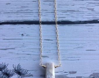 Lepidolite necklace , 14k gold filled
