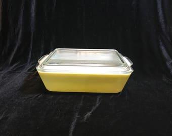 Vintage Pyrex Casserole Dish 0503-B with Lid - Yellow - 1.5 QT Rectangular - Lid 503-C
