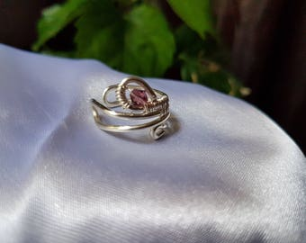 wire wrapped ring, swarovski crystal ring, silver plated copper wire ring, handmade jewelry