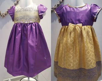 Flower Girl, Bridesmaid, Baby Birthday Party, Special Occasion Dress. Toddler Dress, Purple/Gold Dress, 9-12, 12-18 months. By JQDresses