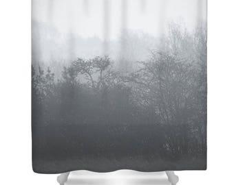 tree shower curtain tree bathroom decor black and white grey shower curtain