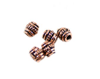 Bali Style Antiqued Copper Alloy Pewter Handmade Barrel Beads 5mm - Package of Five (5) Pieces