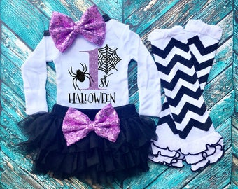 First Halloween Baby Girl Outfit - 1st Halloween Baby - My First Halloween - Spider Outfit - Baby Girl Outfit - Black and Purple Outfit
