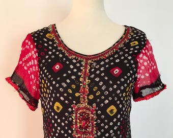 70s Handmade Beaded Dress // Vintage Indian Style Dress // Size S