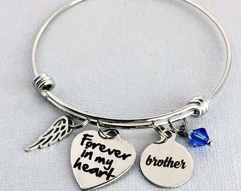BROTHER Memorial Bracelet, Forever in my Heart, Memorial Jewelry, In Memory of Brother, Loss of Brother, Sympathy Gift