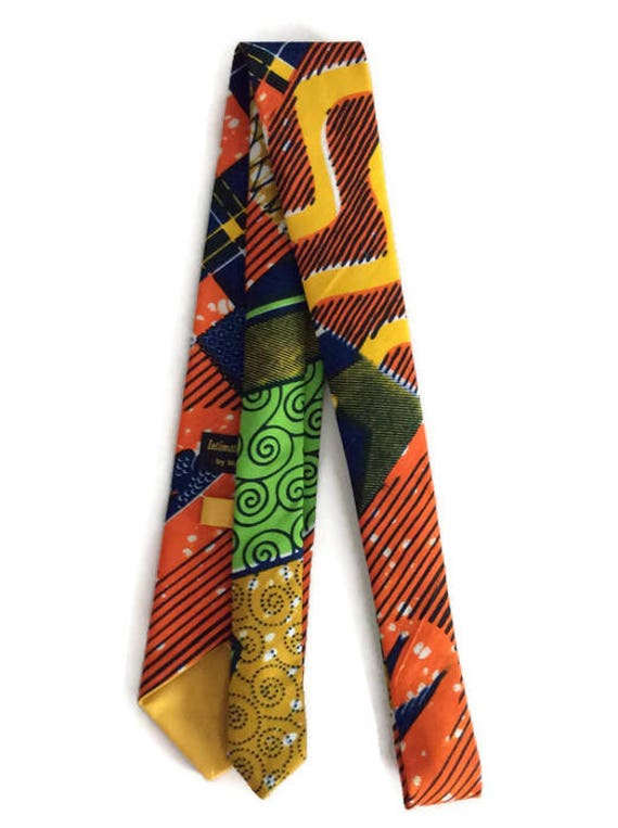 Green Orange African Print Fabric Tie, Mens African Clothing, Ankara Tie And Pocket Square, Gift For Men, Ankara Necktie And Pocket Square