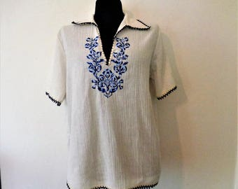 Greek Embroidered Peasant Blouse 36