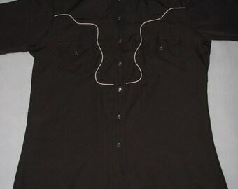 Vintage western SHIRT cowboy Hbarc Long Tail California Ranchwear county style brown shirt